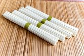 Rice Noodles On A Bamboo Napkin