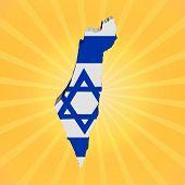 Israel map flag on sunburst illustration