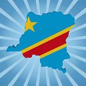 Democratic Republic of Congo map flag on blue sunburst illustration
