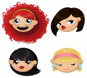 Set of 4 cartoon female heads