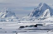Scientific Antarctic Station Winter Day On A Background Of Mountains