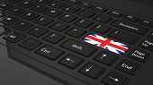 Black keyboard with United Kingdom flag on enter