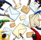 Aerial View of People and E-Mail Concepts