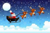 stock photo of sleigh ride  - A vector illustration of Santa Claus riding the sleigh pulled by reindeers in the middle of winter night - JPG