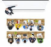 Multiethnic Group of Student Studying in Photo and Illustration