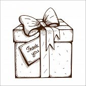 Present box with thank you text.