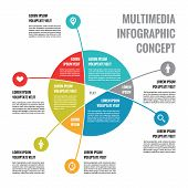 Multimedia Infographic Concept - Abstract Vector Business Scheme