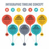 Infographic Vector Concept in Flat Design Style - Timeline Template