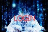 The word login and focused businessman against lines of blue blurred letters falling