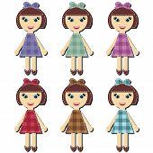 scrapbook girls in different dresses
