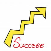 Success Text With Growth Arrow On White Background