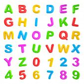 English multi coloured alphabet and number.