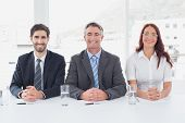 Smiling business people sitting together in an office