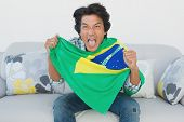 Portrait of Brazilian football fan cheering while watching tv