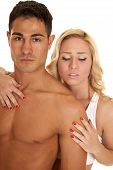 Couple Man No Shirt Woman Hand On His Chest Look Down