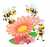 Illustration of the blooming flowers with bees on a white background