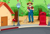 Illustration of a man raking the soil near the road
