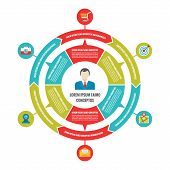 Infographic Business Circle Concept with Icons in Flat Style Design
