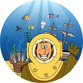 foto of galleon  - Diver in a vintage helmet with a treasure chest of gold coins and wrecked galleon on the sea floor behind him waving at the viewer with a beaming smile  vector illustration - JPG