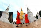 monks walk through the Pagoda