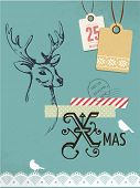 Christmas vintage greeting card, retro air mail concept. Hand drawing deer, scrapbooking elements