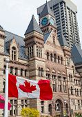 Old City Hall And Canadian Flag