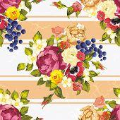Elegant seamless pattern with decorative peony flowers