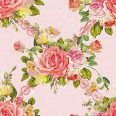 Beautiful seamless pattern with watercolor flowers. Elegance vector illustration