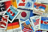 National flags on stamps