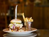 Pulled pork and coleslaw sandwich with garlic fries