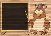 Wise Owl Relief Painting On Generated Wood Texture Background