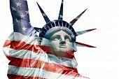 Statue of Liberty - - U.S. flag overlay