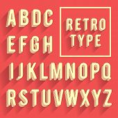 Retro poster alphabet. Retro font with shadow. Latin alphabet letters