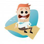 funny cartoon businessman on a flying carpet