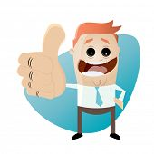funny cartoon businessman with thumbs up