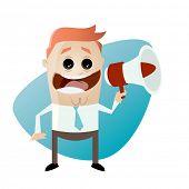 funny cartoon businessman with megaphone
