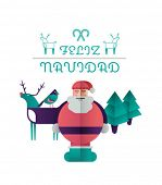 Feliz navidad message with illustrations on white background
