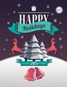 Happy holidays message with illustrations on night sky background