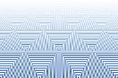 Tiled textured surface. Abstract blue geometric background. Striped triangles pattern. Vector art.