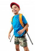 Schoolchild With Backpack And A Cap