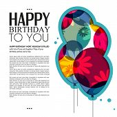 Vector birthday card with color balloons, flowers and birthday text.