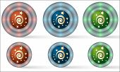 Set Of Six Icons With Spiral Symbol