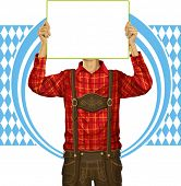 Idea concept. Vector Man with write board in lederhosen on oktoberfest