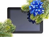 Tablet Pc With Christmas Tree Branch