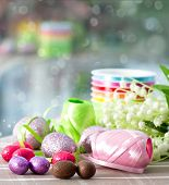 Chocolate Eggs And Spring Flowers
