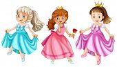 stock photo of fable  - Illustration of three princesses - JPG
