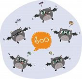 stock photo of baby spider  - Halloween flying bats - JPG