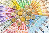 Closeup Of Euro Coins And Banknotes
