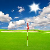 Golf Field With Cloudy Blue Sky Background