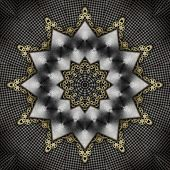 Black perforated metal, white metal and gold gears - artistic kaleidoscope illustration